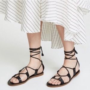 New Madewell Boardwalk Lace-Up Strappy Sandal 7.5